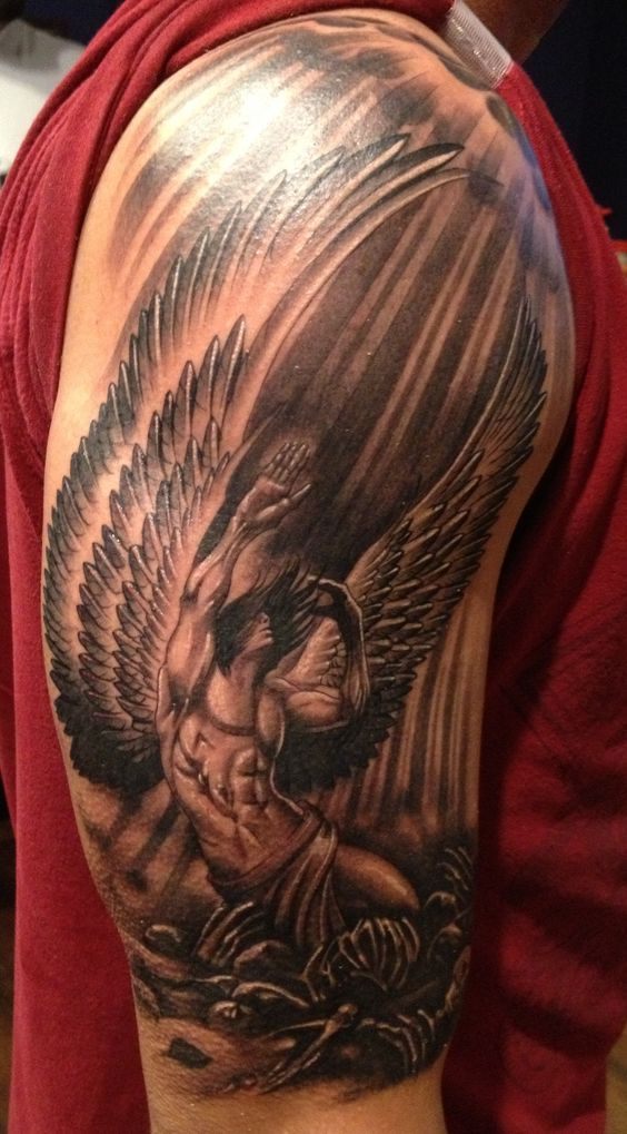 Fallen Angel Arm Tattoo