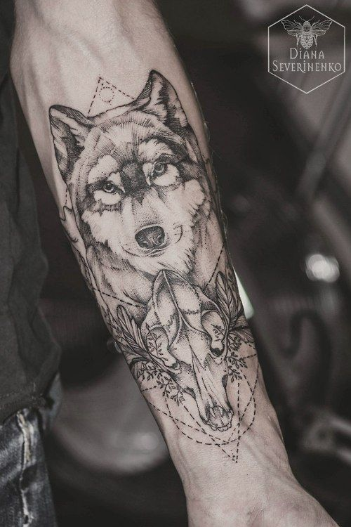Fierce Wolf Forearm Tattoo