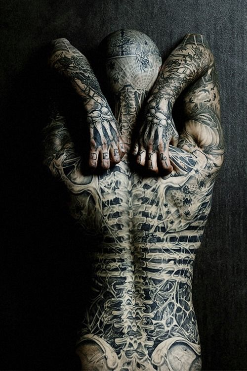 Full Skeleton Back Tattoo