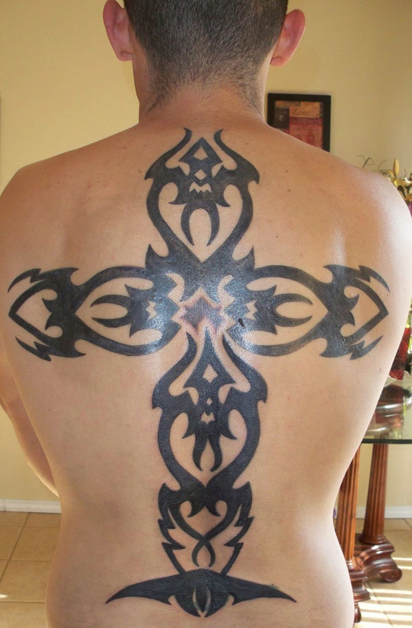 Huge Cross Back Tattoo