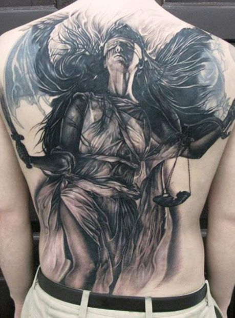 Justice Back Tattoo