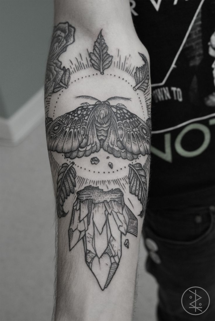 Moth And Crystals Forearm Tattoo