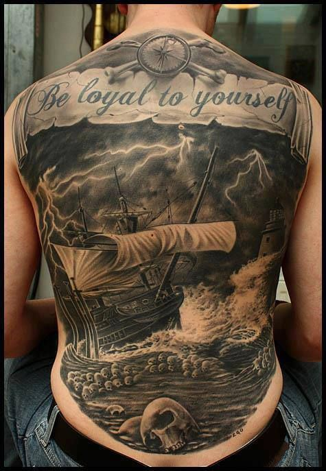 Nautical Full Back Tattoo