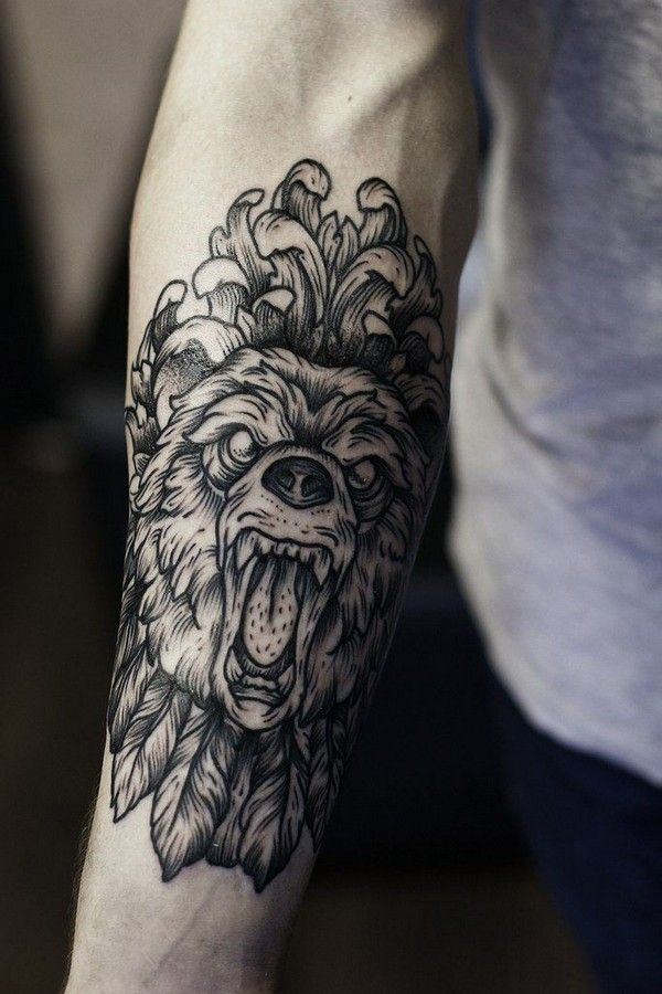 Ornate Lion Forearm Tattoo