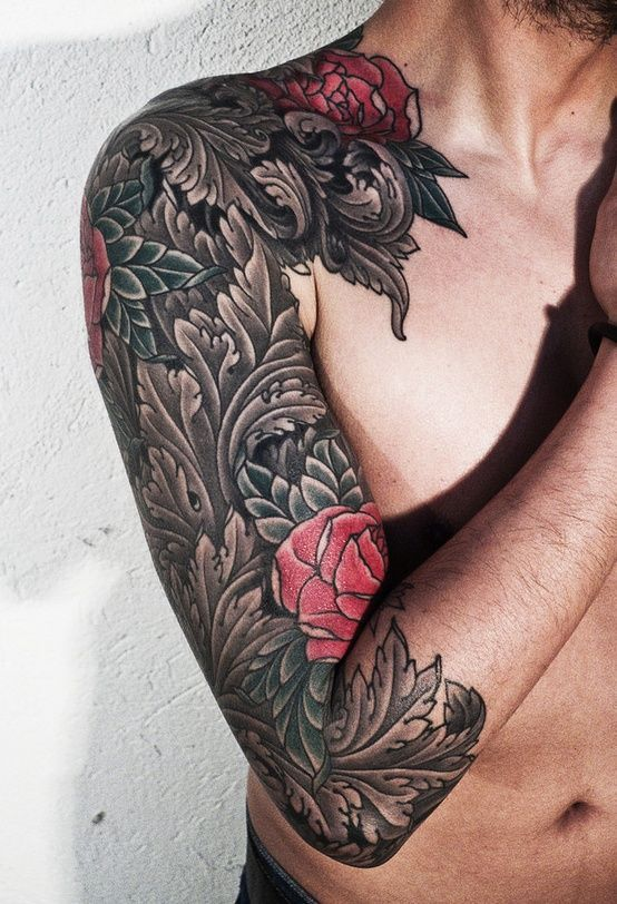 Ornate Roses Arm Tattoo