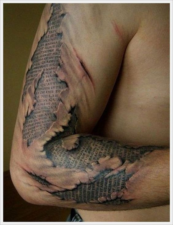 Scratched Book Arm Tattoo