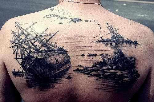 Seascape Back Tattoo