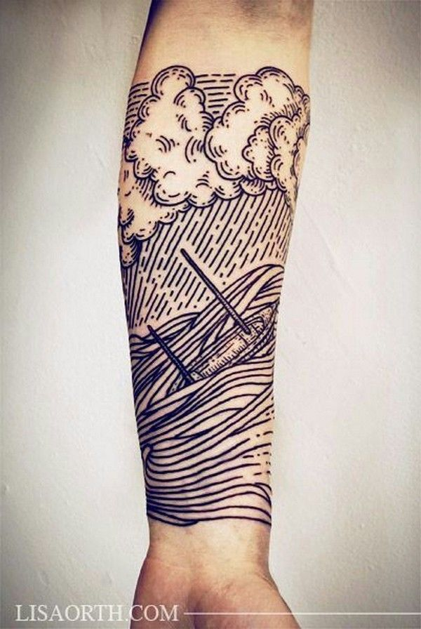 Seascape Forearm Tattoo