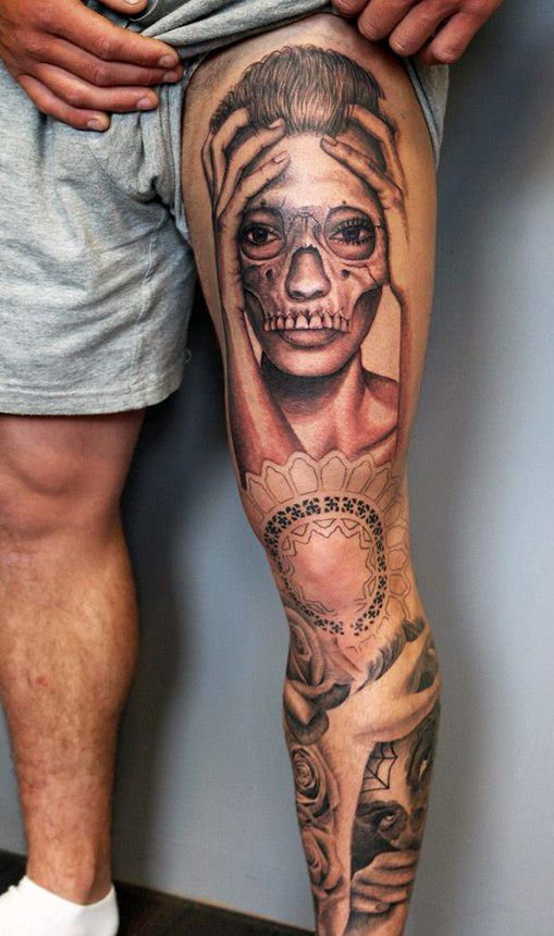 40 remarkable leg tattoos for men for Thigh sleeve tattoo
