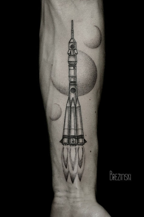 Spaceship Forearm Tattoo
