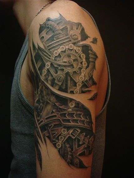 Steam Punk Machine Arm Tattoo