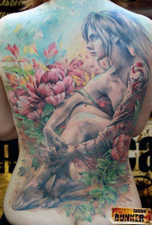 Watercolor Cartoon Like Back Tattoo