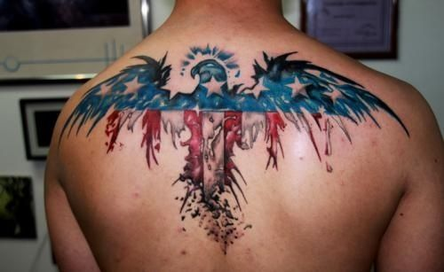 American Eagle Upper Back Tattoo