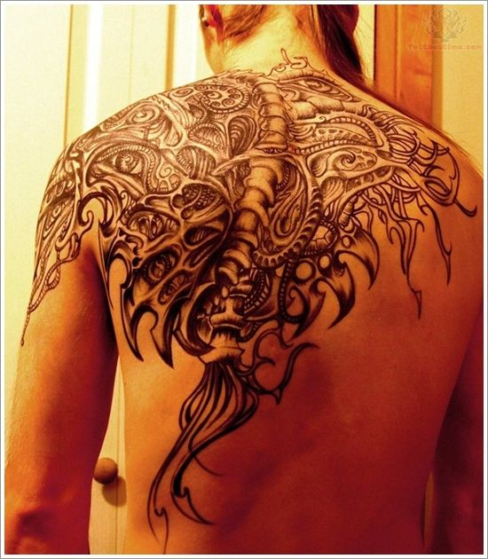 Bio Mechanical Upper Back Tattoo