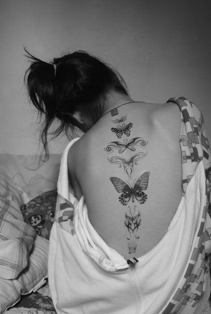Butterflies Spine Tattoo