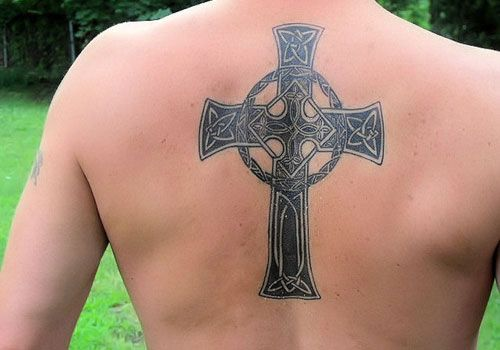 Celtic Cross Upper Back Tattoo