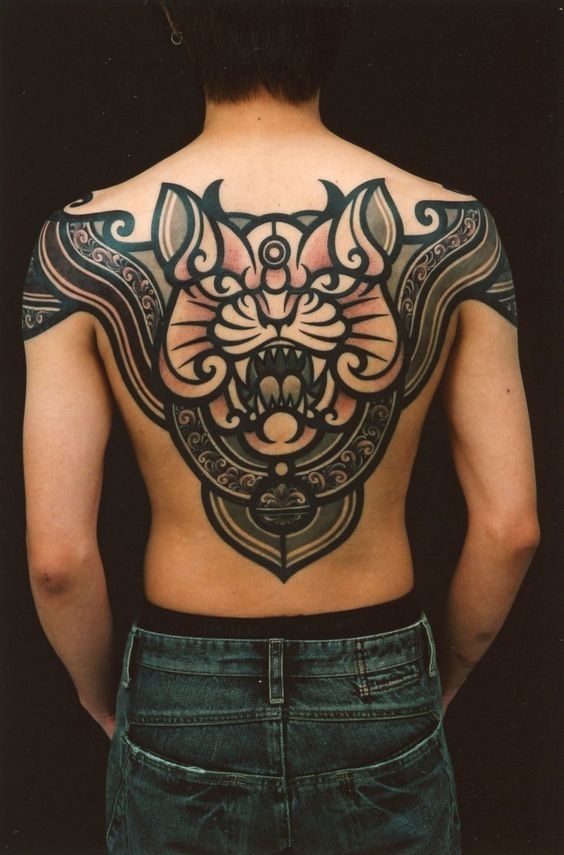 Egyptian Cat Upper Back Tattoo