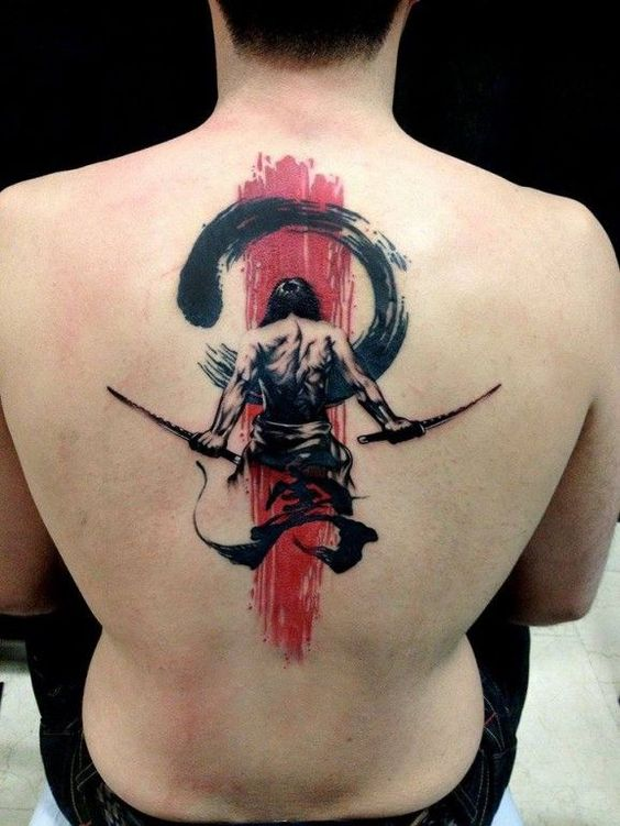 Japanese Warrior Upper Back Tattoo
