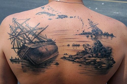 Seascape Upper Back Tattoo