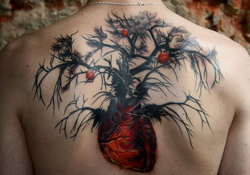 Tree Heart Upper Back Tattoo