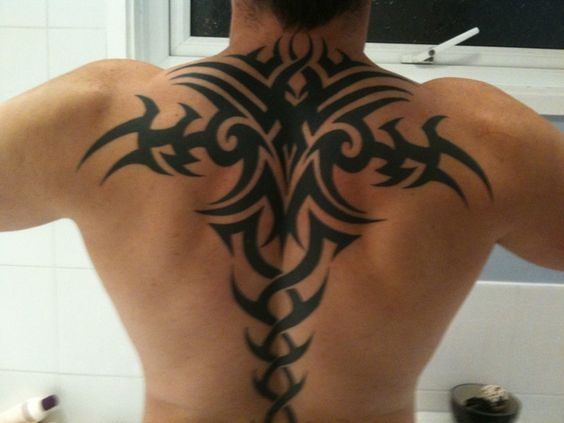 Tribal Upper Back Tattoo