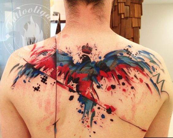 Watercolor Bird Upper Back Tattoo
