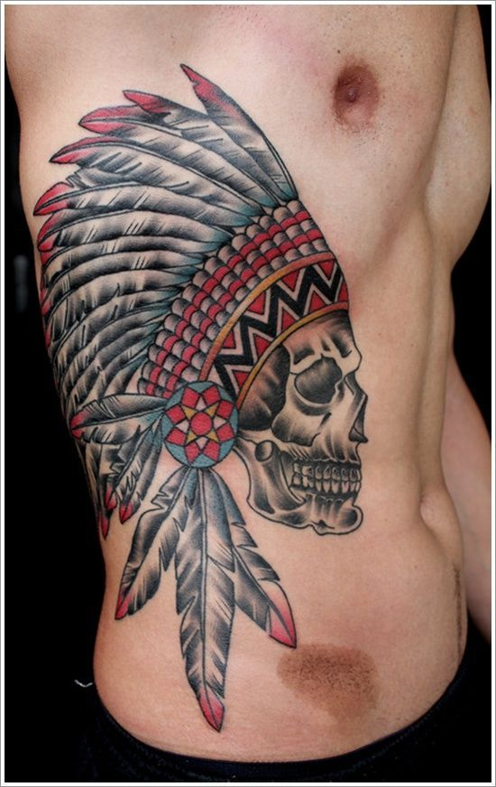 Fancy Skull Side Body Tattoo