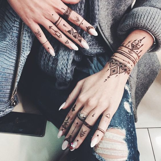 African Tribal Mehndi Hand Tattoo