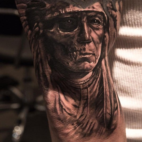 American Indian Skull Arm Tattoo