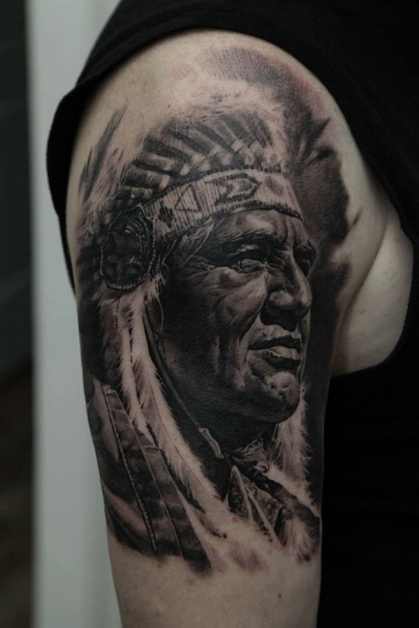 Detailed Native American Indian Arm Tattoo