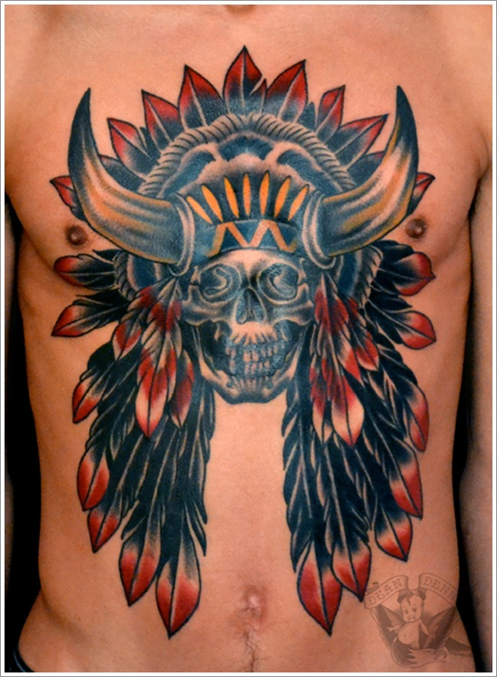 Horned Skull Chest Tattoo
