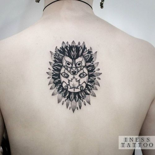 Intricate Hedgehog Back Tattoo