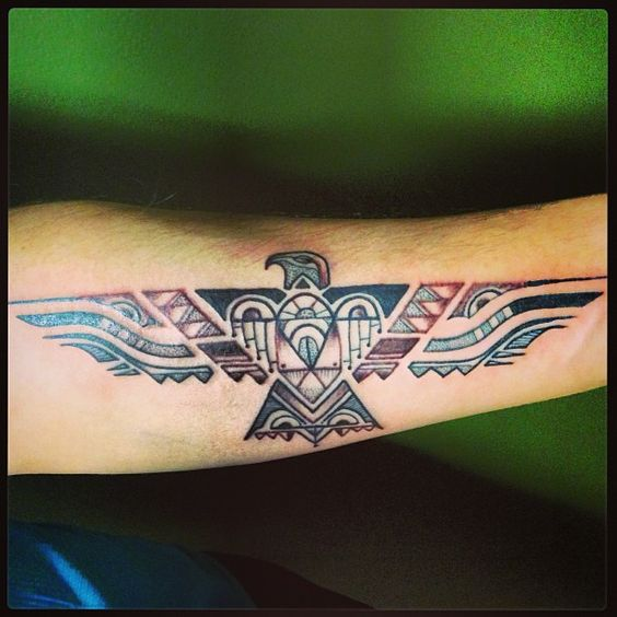 Native American Phoenix Forearm Tattoo
