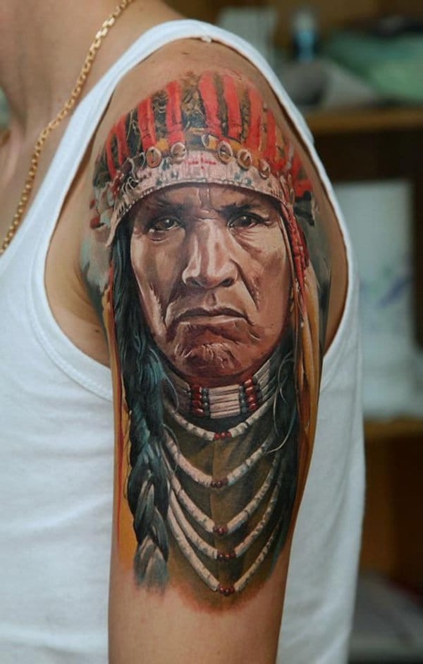 Realistic Native American Arm Tattoo