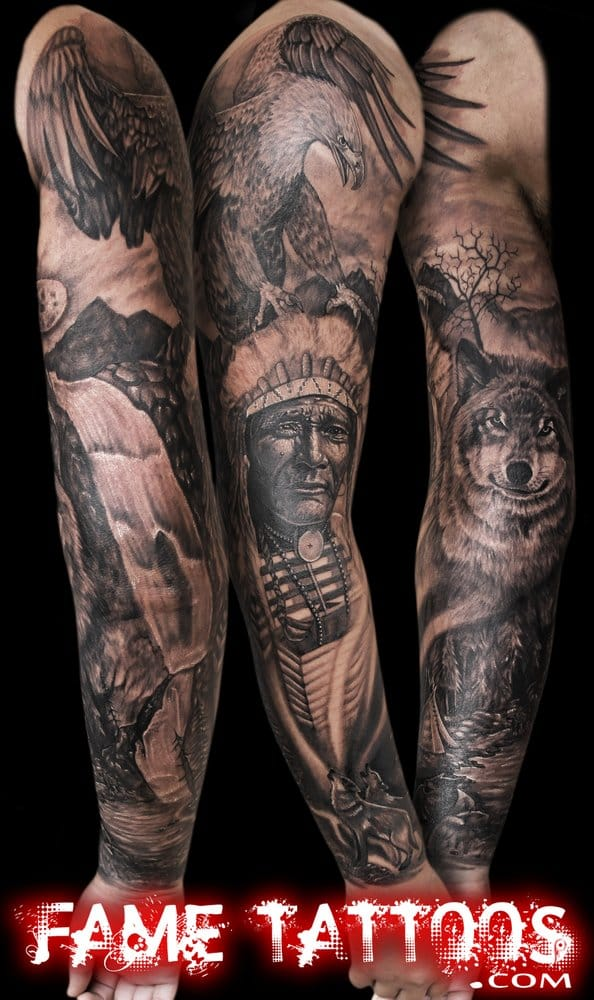 Superb Native American Elements Sleeve Tattoo