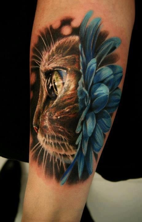 Detailed Cat Arm Tattoo