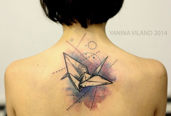 Geometric Origami Paper Crane Back Tattoo