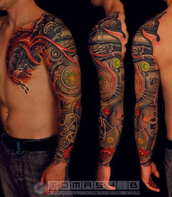 30 outrageous bio mechanical tattoo designs amazing for Top 10 tattoo shops in nyc