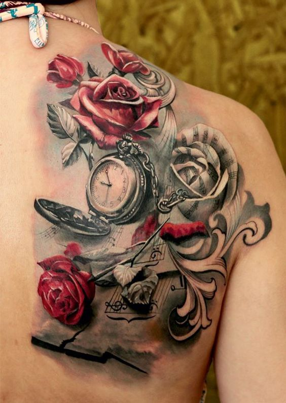 2ae43e593 Roses And Notes Back Tattoo | Amazing Tattoo Ideas
