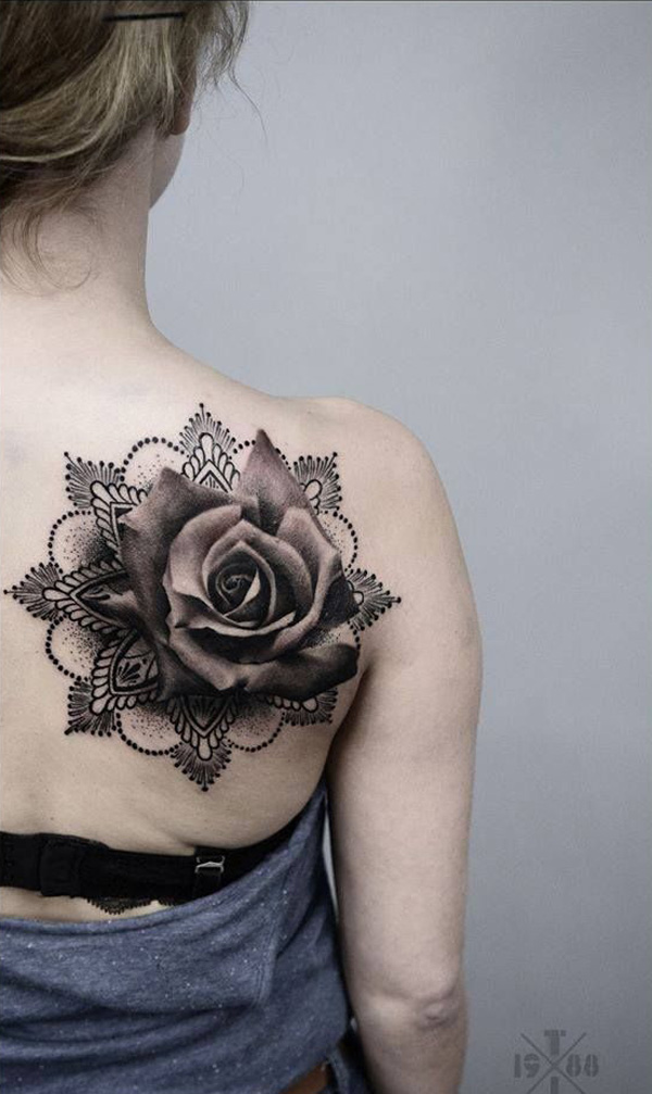 Surreal Mandala Rose Back Tattoo