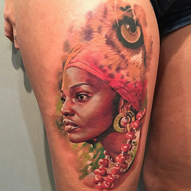 Beautiful African Girl Thigh Tattoo