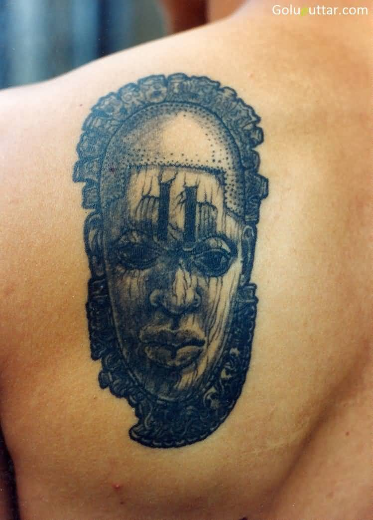 Rare Face Mask Back Tattoo