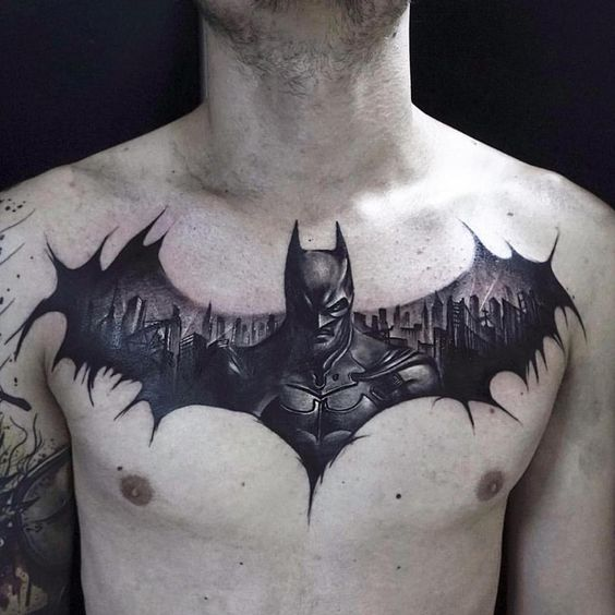 Batman In Gotham Chest Tattoo