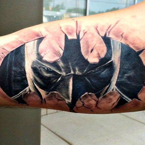 Batman's Eyes Arm Tattoo