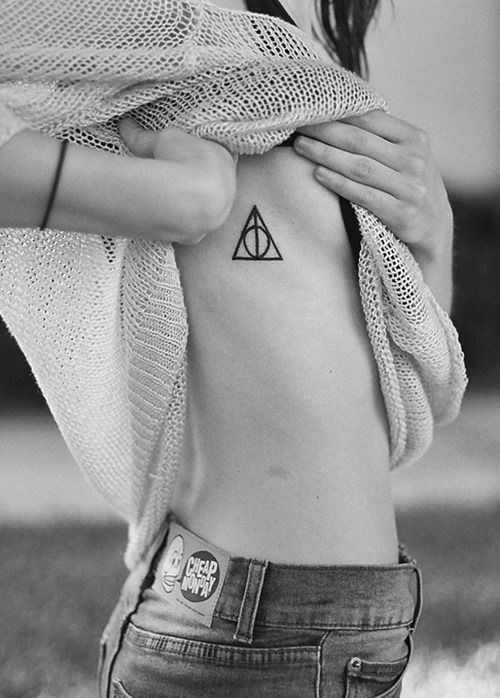Deathly Hallows Sign Side Body Tattoo