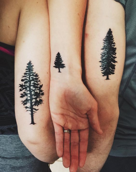 Different Trees Arm Tattoos