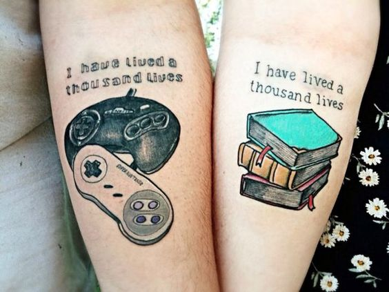 Games And Books Forearm Tattoo