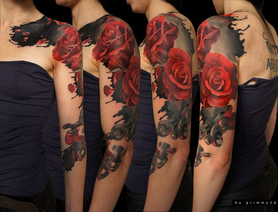Stunning Red Roses Sleeve Tattoo