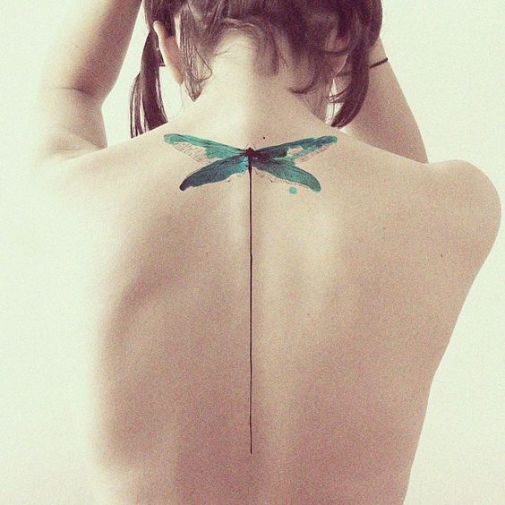 Contemporary Dragonfly Back Tattoo