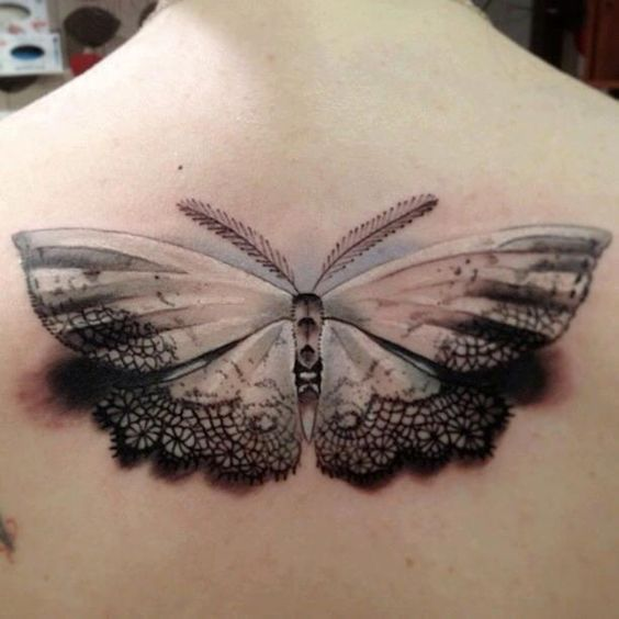 Laced Moth Back Tattoo